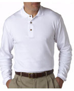 Embroidered (8501br) UltraClub Men's Egyptian Interlock Long-Sleeve Polo