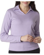 Monogrammed (8502br) UltraClub Ladies' Egyptian Interlock Long-Sleeve Polo