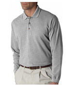 Logo (8532br) UltraClub Adult Long-Sleeve Classic Pique Polo