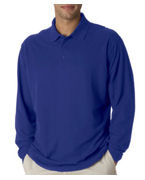 Monogrammed (8542br) UltraClub Adult Long-Sleeve Whisper Pique Polo