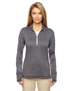 Custom Logo adidas Golf Ladies' Brushed Terry Heather Quarter-Zip