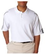 Monogrammed Adidas Men's ClimaLite 3-Stripes Cuff Pique Polo