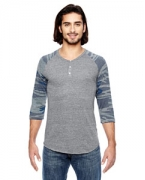 Logo Alternative Men's Eco Jersey Triblend 3/4-Sleeve Raglan Henley Fashion T-Shirt