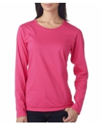 Embroidered Anvil Ladies' Lightweight Long-Sleeve Cotton Tee
