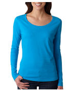 Custom Logo Anvil Ladies' Sheer Long-Sleeve Scoop Neck Tee