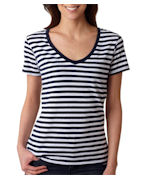 Custom Logo Anvil Ladies' Stripe V-Neck Tee