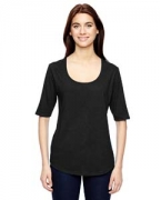 Embroidered Anvil Ladies' Triblend Deep Scoop Half-Sleeve T-Shirt