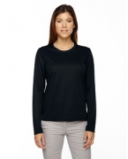 Monogrammed Ash City - Core 365 Ladies' Agility Performance Long-Sleeve Pique Crew Neck