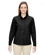 Logo Ash City - North End Ladies' Align Wrinkle-Resistant Cotton Blend Dobby Vertical Striped Shirt