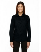 Embroidered Ash City - North End Ladies' Luster Wrinkle-Resistant Cotton Blend Poplin Taped Shirt
