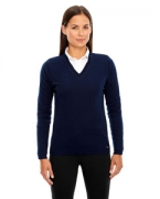 Embroidered Ash City - North End Ladies' Merton Soft Touch V-Neck Sweater
