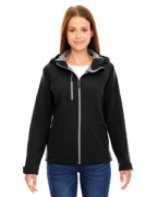 Embroidered Ash City - North End Ladies' Prospect Two-Layer Fleece Bonded Soft Shell Hooded Jacket
