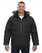 Logo Ash City - North End Men's Boreal Down Jacket with Faux Fur Trim