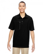 Logo Ash City - North End Men's Excursion Crosscheck Performance Woven Polo