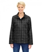 Custom Embroidered Ash City - North End Sport Blue Ladies' Locale Lightweight City Plaid Jacket