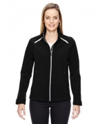 Customized Ash City - North End Sport Red Ladies' Excursion Soft Shell Jacket with Laser Stitch Accents