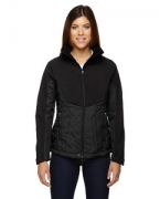Logo Ash City - North End Sport Red Ladies' Innovate Insulated Hybrid Soft Shell Jacket