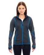 Logo Ash City - North End Sport Red Ladies' Pulse Textured Bonded Fleece Jacket with Print