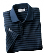 Custom Logo Ashworth Men's Dual Tone Piqu Stripe Polo
