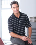 Custom Logo Ashworth Men's High Twist Cotton Tech Stripe Polo
