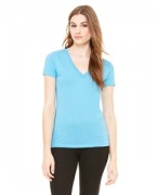 Logo Bella + Canvas Ladies' Triblend Short-Sleeve Deep V-Neck T-Shirt