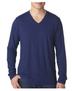 Custom Embroidered Bella+Canvas Men's Tri-Blend Long-Sleeve V-Neck Tee