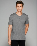 Monogrammed Bella + Canvas Men's Triblend Short-Sleeve Henley