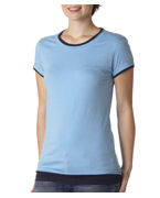 Custom Logo Bella Ladies Claudette Sheer 2-in-1 Jersey T-Shirt