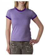Embroidered Bella Ladies' Heather Short-Sleeve Jersey Ringer T-Shirt