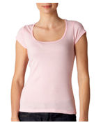 Logo Bella Ladies Margot Sheer Rib Short-Sleeve Scoop-Neck T-Shirt