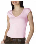 Logo Bella Ladies Tori Sheer Rib Deep-V-Neck T-Shirt