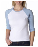 Embroidered Bella Ladies' Two-Tone 3/4-Sleeve Raglan T-Shirt