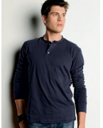 Monogrammed Canvas Men's 4.2 oz. Long-Sleeve Henley