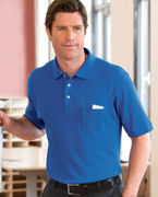 Logo Chestnut Hill Men's Performance Plus Piqu Polo with Pocket