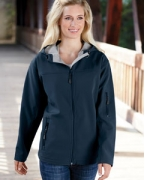 Logo Devon & Jones Ladies' Hooded Soft Shell Jacket
