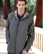 Embroidered Devon & Jones Men's Hooded Soft Shell Jacket