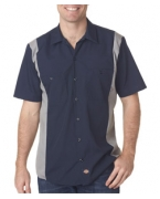 Embroidered Dickies Adult Industrial Color Block Blended Shirt