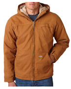 Embroidered Dickies Adult Sanded Duck Sherpa-Lined Hooded Jacket