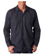 Custom Embroidered Dickies Men's Long-Sleeve Industrial Poplin Work Shirt