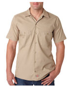 Personalized Dickies Men's Short-Sleeve Industrial Poplin Work Shirt