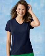 Custom Embroidered Hanes Ladies' 4.5 oz., 100% Ringspun Cotton nano-T V-Neck T-Shirt