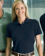 Logo Harriton Ladies' 5.6 oz. Easy Blend Polo