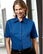 Logo Harriton Ladies' Short-Sleeve Twill Shirt with Stain-Release