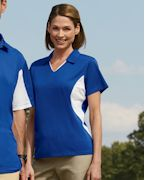 Embroidered Harriton Ladies' Side Blocked Micro-Pique Polo