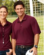 Logo Harriton Men's 3.8 oz. Polytech Mesh Insert Polo