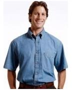 Logo Harriton Men's 6.5 oz. Short-Sleeve Denim Shirt