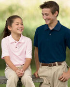 Monogrammed Harriton Youth 6 oz. Ringspun Cotton Piqu Short-Sleeve Polo