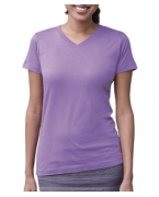 Customized LA T Ladies V-Neck Longer Length T-Shirt