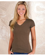 Personalized LAT Junior Fine Jersey V-Neck Longer-Length Tee