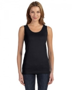 Embroidered LAT Juniors' Fine Jersey Longer Length Tank